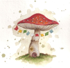 Watercolour and coloured pencil