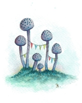 Toadstool House with Bunting
