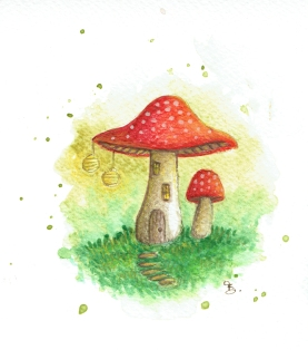 Toadstool House with Lanterns